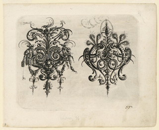Two ornamental cartouches of auricular cartilage forms. The one at the left composed of human and mollusk forms; at the right, of elephant heads with feathery tufts and spiralling trunks.
