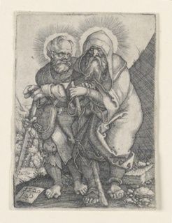 Figures of two Apostles shown walking toward the left. Saint Simon, at left, carries a saw. Saint Thaddeus, at right, carries a club.