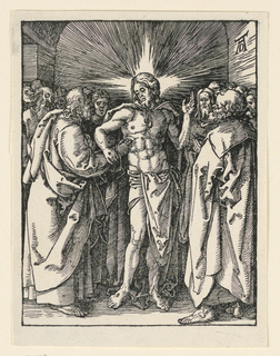 Christ stands in the center of the composition, surrounded by the disciples. Saint Thomas places his fingers in the wound in the side of Christ, who supports this effort by steadying the Saint's wrist. Monogram of Dürer at upper right.