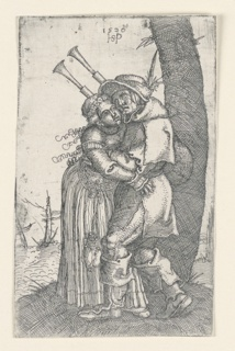 A figure of a bagpiper embraces a young girl. He is standing at right against a tree. From the sash at her waist hangs a satchel.