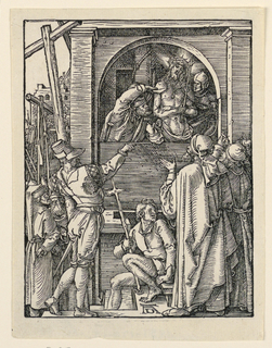 Christ appears before a window, wearing the crown of thorns, and attended by two of his tormenters. A group of spectators is in the foreground. Monogram of Dürer, lower center.