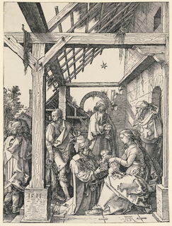 The Virgin is seated at right, facing left in profile. She holds the Child, standing on her lap. The three Magi appear before them, bearing gifts.