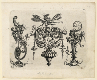 Ornamental cartouche composed of auricular, cartilage-like form in a heart shape, surmounted by a half-length female winged figure. At either side, similar forms of volute shape rest on a grasshopper, left, and a tortoise, right.