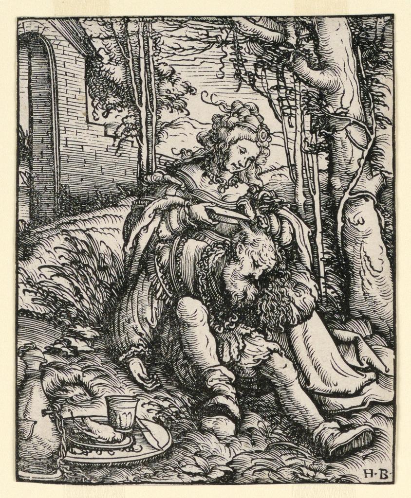 Print, Delilah Cutting Samson's Hair