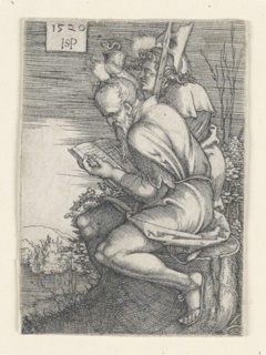 Figures of the two Apostles are shown in profile facing left: Saint Matthew is seated on a tree stump reading a book and has a halberd propped against his right shoulder; Saint John stands to his right, holding a chalice.