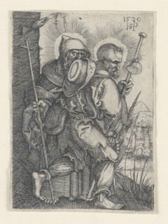 The figures of Apostles Philip and James are shown, walking toward the right. Saint Philip carrying a crozier or staff, surmounted by a cross; Saint James Major carrying a pilgrim's staff.