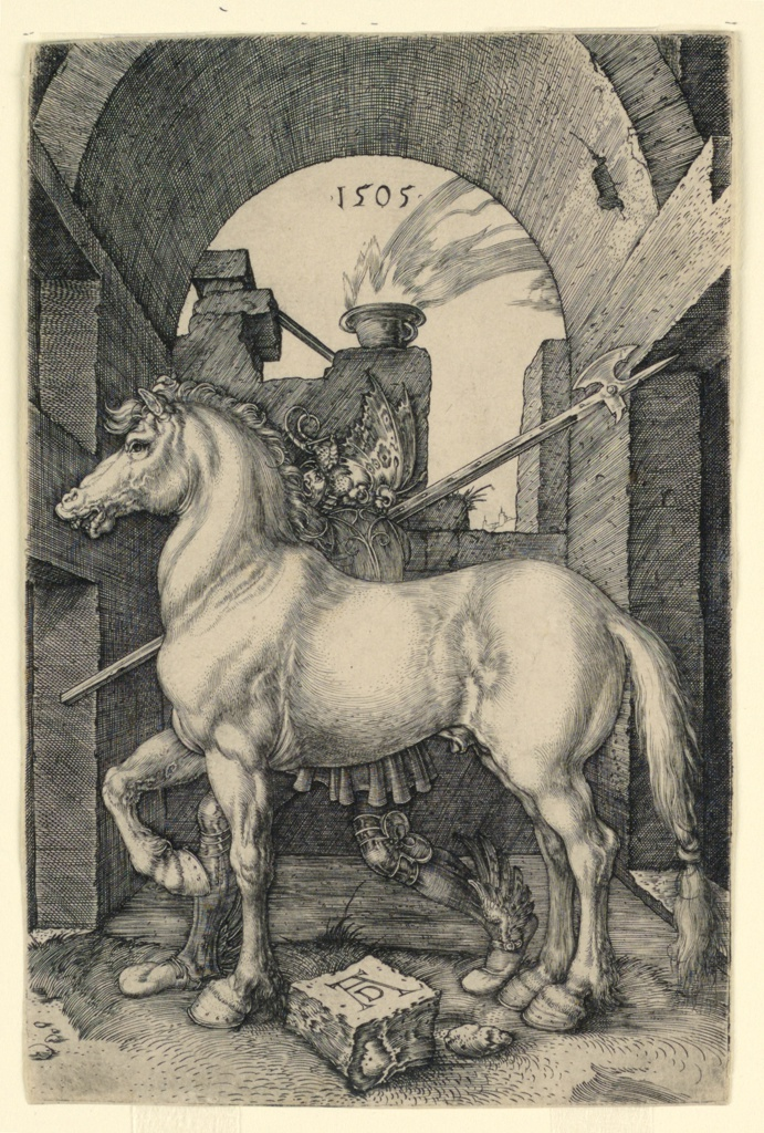 Within an archway a small horse stands in profile, facing left. Behind him stands a warrior, wearing a helmet with a butterfly motif, and winged sandals. His halberd rests on his right shoulder.