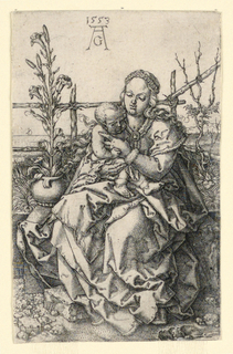 Engraving depicting the Virgin and Child seated on a grassy bank.