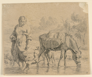 """A landscape with a brook in foreground, trees in background. At right, a sumpter drinks from the brook; at left, a woman with her head turned to right stands nearby. A dog jumps in front of her. Inscribed, upper left corner: """"K. du Jardin fecit""""; lower right: """"27."""""""