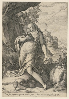 "Standing figure of Mary Magdalen in frontal view. Her head is turned to left, lookking down. She holds a book in her right hand; her left hand rests upon a skull on a rock. In background, hills, houses, and a crucifix. Inscribed, lower left: H. Goltzius inuen. et sculptor exeubat""; center: ""A 1585""; across lower margin: ""Dum su a perpetua deplorat crimina fieta, grata pio, neruit Magdalis este deo"". Cut within platemark."