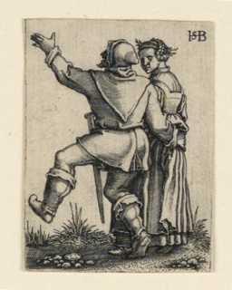 Print, The Wedding Procession: Couple dancing left, ca. 1545