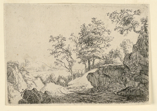 Landscape scene with a figure on a road descending into valley in the background. Trees surround, mountain in background.