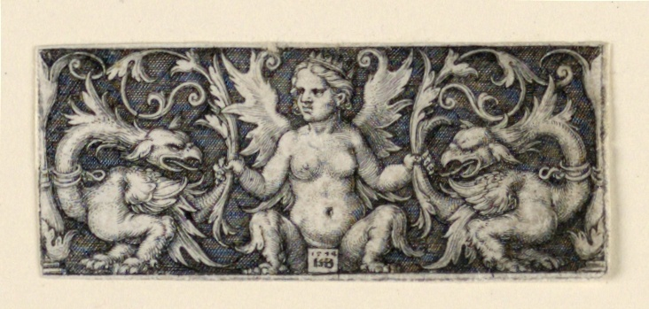 Print, Frieze with winged female figure and two grotesque roosters