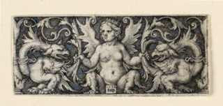 Print, Frieze with winged female figure and two grotesque roosters, ca. 1544