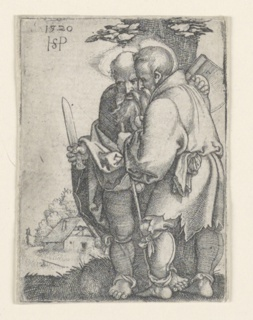 Figures of two Apostles are shown, standing, turned toward the left. Saint Bartholomew, at left, carries a knife in his right hand. Saint Matthias, at right, carries an axe over his right shoulder. A small cottage in distance to the left.