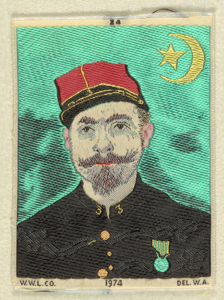 Woven souvenir based on the painting 'Portrait of Milliet, Second Lieutenant of the Zouaves' (1888) by Vincent van Gogh (Dutch, 1853-1890).