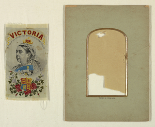 Woven portrait of Queen Victoria, with the coat of arms.