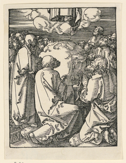 Only the feet of Christ are seen at the upper  center of the composition. The Virgin stands at left, two of the disciples are in the foreground, kneeling, others in background. Monogram of Dürer on tablet, lower left.