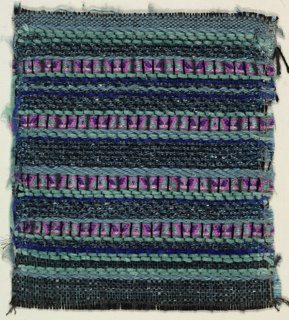 Woven sample with horizontal stripes in varied widths and textures, in blue-green, pink and purple. Warp is black, heavy, plied silk-like fiber. Wefts are light and dark blue plied synthetic yarns, light green chenille, royal blue chenille, navy glass beads, pink patterned rayon ribbon, and dark blue cellophane film.