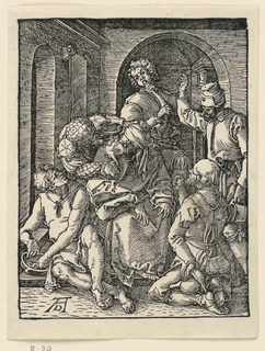 Interior, with Christ seated in the center, facing the spectator. He is blindfolded, and surrounded by five men who deride him in various ways. Monogram of Dürer, lower left.