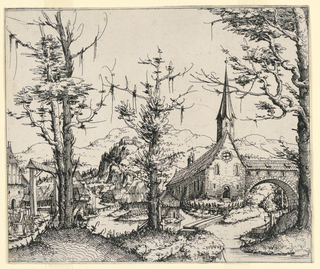 Print, Church by a Stream, Spanned by a Covered Bridge, 1545