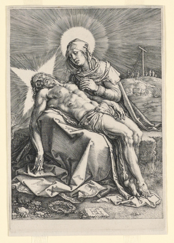 This pieta is modeled on the style of Dürer's engravings from the 1520s.