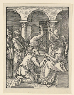 Christ is seated in the foreground, facing left in profile. He wears a crown of thorns. One of his tormenters kneels before him, offering him a stick. Two others stand behind him. Two men observe scene, left. Monogram of Dürer, lower left.