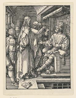 Interior, with Herod seated on a throne at right, facing left. Christ s stands before him, facing right in profile. He is attended by soldiers and others. Monogram of Dürer and date 1509 on tablet, lower left.