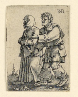 Print, The Wedding Procession: Couple walking left, woman wearing a bonnet, ca. 1545