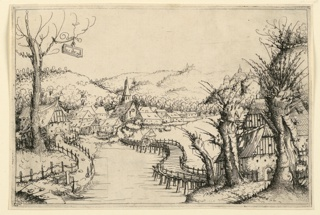 Print, Landscape with a winding wooden Bridge, 1546