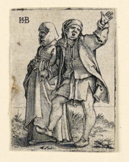Print, The Wedding Procession: Couple walking left, man turning back, raising his arm, ca. 1545