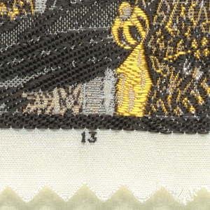 "Woven souvenir based on the painting 'The Laughing Cavalier' (1624) by Frans Hals (1584-1666). ""13"" appears below the portrait. Black, gray, white, and golden-yellow on a white warp."