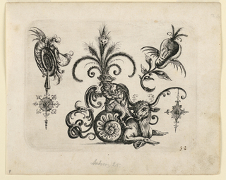 Ornamental design showing a winged and bearded figure, wearing a fanciful plumed hat, and riding on the back of a snail which terminates in an ox. Another snail form, left, and a bisected pear with a face, right.