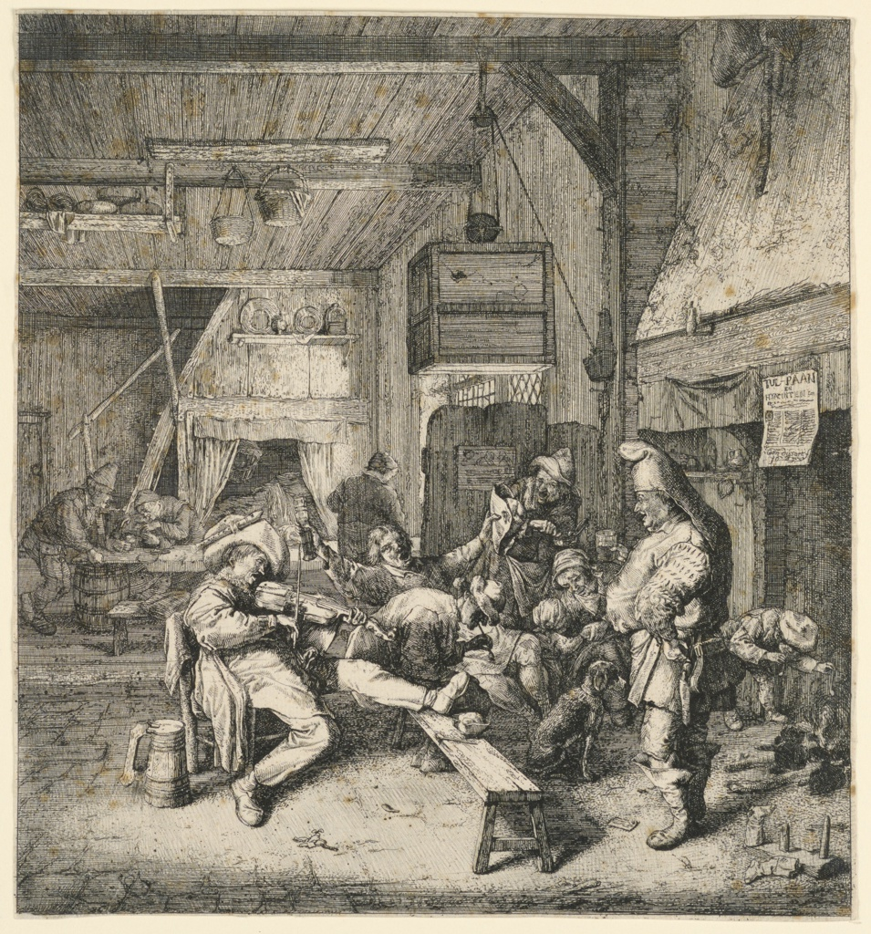 A crowd gathers in the lower right, with a seated man  playing a violin at left. The group to his right is boisterous, some sitting, others standing: with beer steins and pipes in hand, some appear to be singing. They are before a fireplace in a wood-walled and -ceilinged room, with a stone floor.