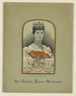 Woven portrait of Queen Alexandra.