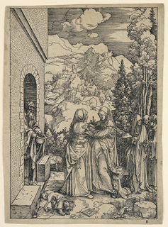 """Saints Mary and Elizabeth, center, embrace one another. Mountainous landscape in the background. Monogram of Dürer on tablet, lower center. Initial """"B,"""" in margin, lower right. Text on reverse, 26 lines."""
