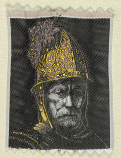 Woven souvenir based on the painting 'The Man with the Golden Helmet' (c. 1650) formerly attributed to Rembrandt van Rijn (1606-1669). Black, mauve, gray, dusty rose, and golden-yellow on white warp.