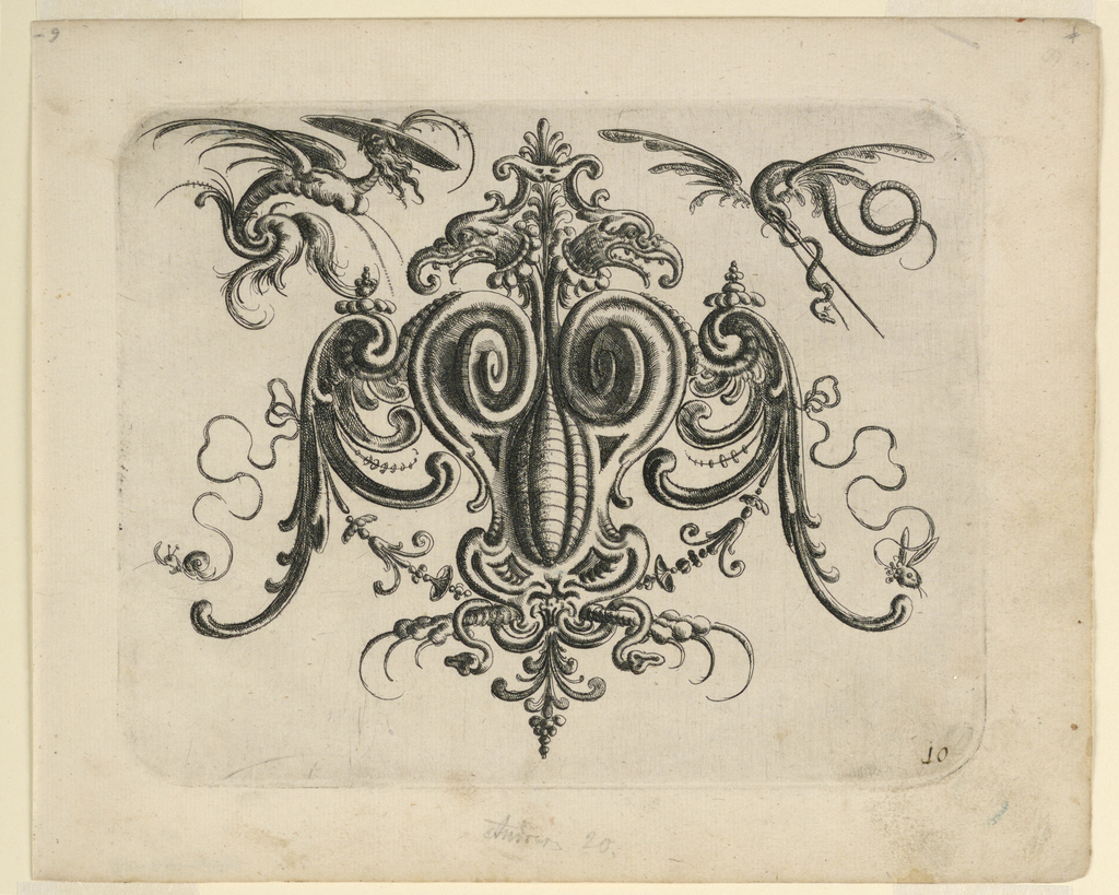 Ornamental cartouche composed of auricular, cartilage-like forms with bird talons below. Two flying beasts, upper right and left.
