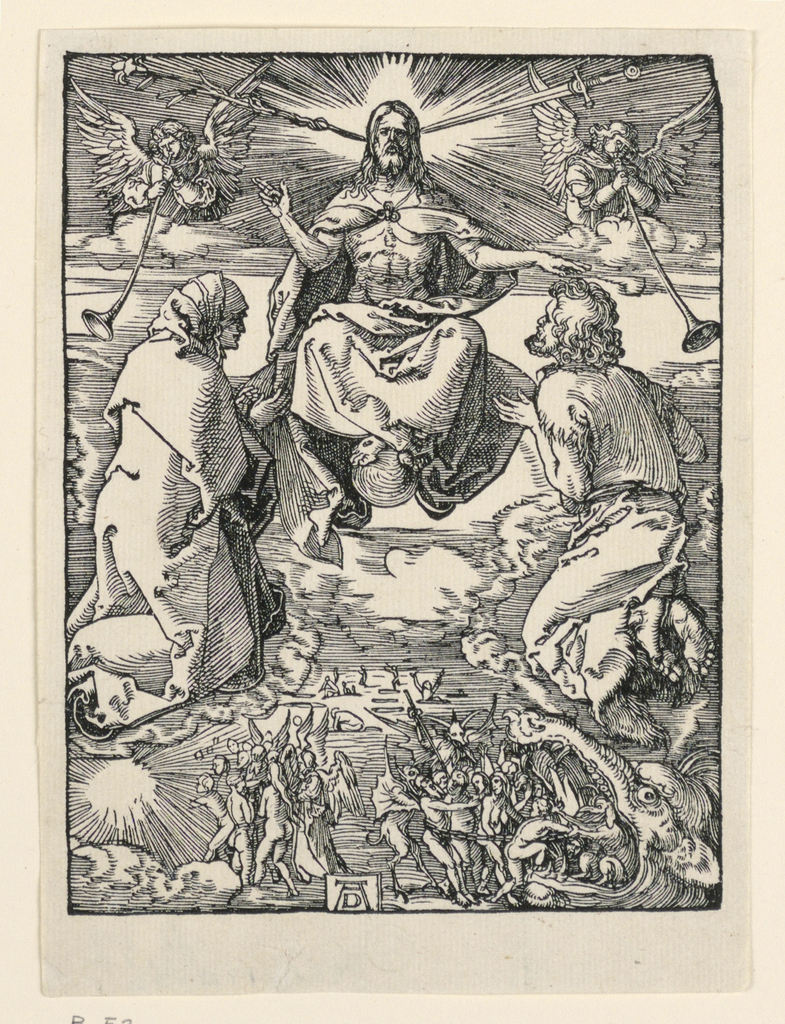 Christ appears in the upper center of the composition, facing the spectator. He is accompanied by two angels blowing trumpets. The Virgin kneels at left; Saint John at right. The blessed and condemned are seen below. Monogram of Dürer near left center.