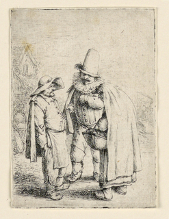 Print, Two Men and an Old Woman