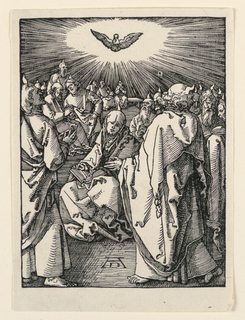 The Virgin is seated near center foreground, an open book on her lap. The disciples are seated and standing about her, watching the Holy Spirit in the form of a dove, as it appears in a ray of light above the Virgin. Monogram of Dürer, near left center.
