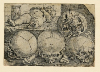 Print, Sleeping Child with Four Skulls, 1529