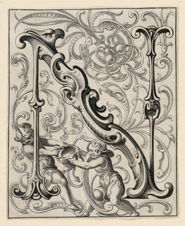 """Print, Panel with the Letter """"N"""" from the """"Newes ABC Büechlein"""""""
