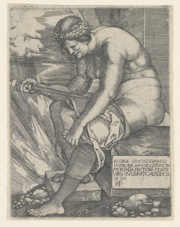 The figure of Dido is represented almost nude, seated on a slab of stone, facing left. She is about to stab herself with a dagger, held in her right hand.