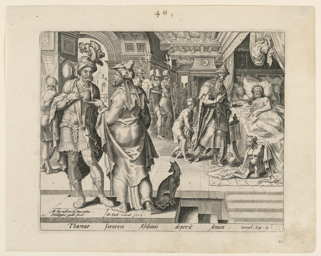 Ammon, in bed, begs the King to summon his sister Thamar. Illustration to the following passage in the Book of Samuel: Thamar, Samuel, I, Chap. 13