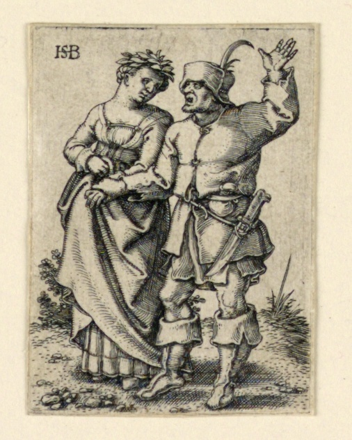 Print, The Wedding Procession: Couple walking left, woman wearing a wreath
