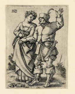 Print, The Wedding Procession: Couple walking left, woman wearing a wreath, ca. 1545