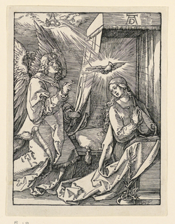 The Virgin kneels at right, her hands clasped before her. She turns her head toward the angel who appears at left. God the Father is seen in a ray of light, upper left. Monogram of Dürer, upper right.