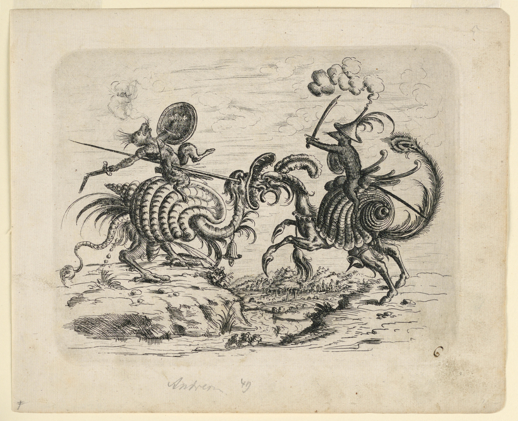 Two rat-like beasts, mounted on fantastic snail-shaped horses, joust. A wooded landscape in background.