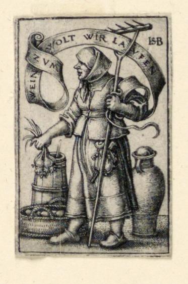 Print, Peasant Woman at Market: Zum Wein wolt wir Laufen (To wine we will run)